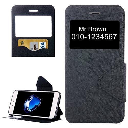 iPhone Case Cover Pour iPhone 7 Croix Texture Horizontal Flip étui en cuir avec affichage d'appel ID & Holder & Slot de carte ( Color : Dark blue ) Black
