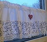 Leinenshop24 Bistrogardine Kurzgardine Weiß Spitze Retro Paris 100% Öko Baumwolle 2 St 70x42 Gesamtlänge 140 cm Landhaus Shabby Retro Vita