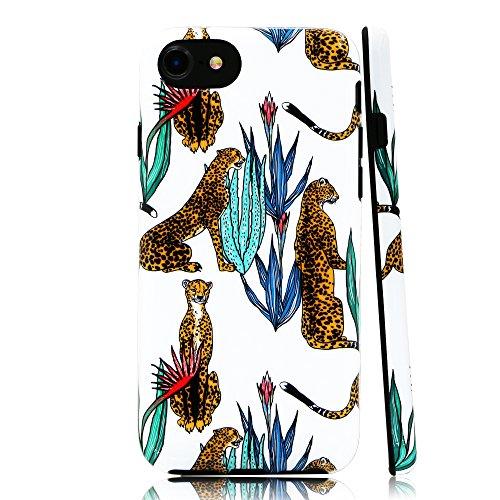 lartin Weicher Flexibler Jellybean Gel TPU Fall für iPhone 8/iPhone 7/iPhone/6S/iPhone 6, Cheetah with Tropical Plants (I Phone 6 Fällen Cheetah)