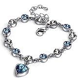 JIUTA Damen Armbänder mit Kristallen Herz-Form-Elegant-Armband Valentinstag Geschenk