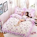 Sticker Superb Ragazza Principessa Romantico Rosa Blu Giardino Fiore Set Biancheria da Letto con Federa, Pizzo Cascata Increspatura Viola Grigio Copripiumino (Bianca/Viola,150x200cm)