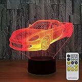 Fyyanm Sport À Distance Voiture Cool 3D Night Light Led Vision Stéréo Acrylique Panneau Décoration De Table 7 Couleurs Change Chambre Bar Bureau Lampe