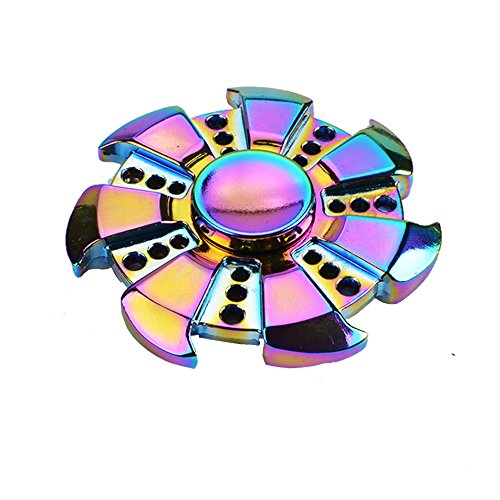 Finger Spinner Toy Hand Spinner Toy Finger Spinner Toy EDC Metal Stress Reducer for ADHD ADD Anxiety Autism (Rainbow02)