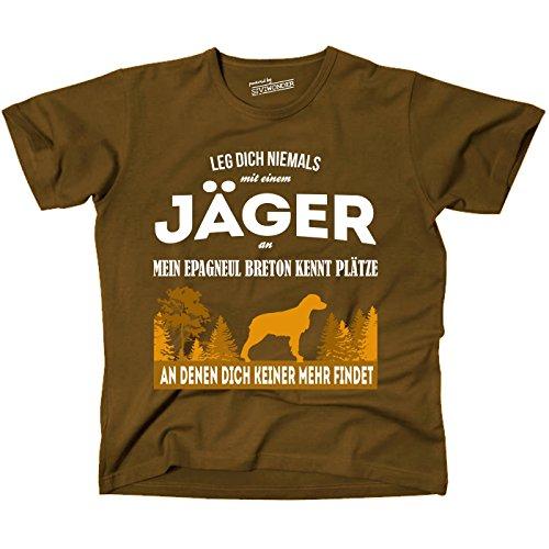 Siviwonder Unisex T-Shirt JÄGER EPAGNEUL BRETON Hund kennt Plätze niemand findet BROWN L - Breton-platz