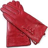 Damen Premium Qualität Original superweich Leder Handschuhe Vollständig gefüttert Winter Alltag warm - Rot, M