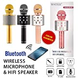 Kartik Wireless mike with speakers for singing Q858 Portable Multi-Function Bluetooth Microphone Karaoke