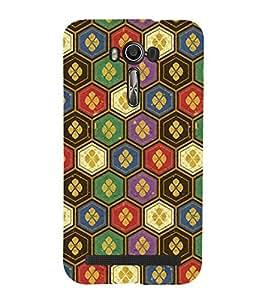 HiFi Designer Phone Back Case Cover Asus Zenfone 2 Laser ZE601KL (6 Inches) ( Colorful Pattern Design Pink Gold )
