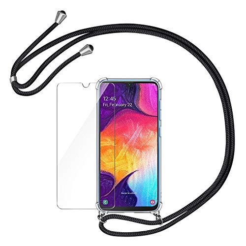 AROYI Handykette Handyhülle + Panzerglas Schutzfolie für Samsung Galaxy A50 Hülle mit Kordel zum Umhängen Necklace Hülle mit Band Schutzhülle Transparent Silikon Acryl Case für Samsung Galaxy A50