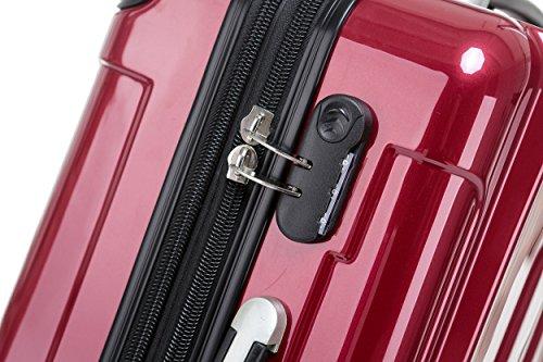 BEIBYE Hartschalen Koffer Trolley Rollkoffer Reisekoffer 4 Zwillingsrollen (Handgepäck-40L, Rot) - 3