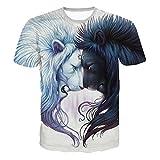T-Shirts,Honestyi 2018 Neueste Modell Männer 3D-Druck Sommer Kurzarm Lion Muster Cool und Stylisc O-Asschnitt T-Shirts Top Tee Bluse Sweatshirts Oversize S-XXL (XL, Blau)