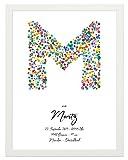 Personalisiertes Poster zur Geburt, 30 cm breit x 40 cm hoch, gerahmt mit weissem Bilderrahmen, Geschenk zur Geburt, Namensbild, Geburtsbild, Taufe, Fineartprint, Personalisierbares Poster