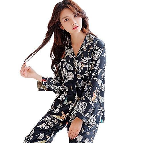 Damen Seide Langärmelige Pyjamas Frühling Eleganz Dünne Pyjama Set Traditionelle Drucken Weiche Pyjamas Pjs,A-M (Faulenzen Pjs)