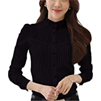 Womens Chiffon Vintage Stand Collar Button Down Shirt Long Sleeve Lace Blouse with Stretch