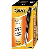 Bic M10 Lot de 50 stylos à bille Clic à écriture moyenne 1 mm (Noir)