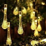 Innoo Tech 3.3M Guirlande Lumineuses Solaire d'extérieur , 20 LEDs blanc chaud en Forme de Goutte d'eau, Décoration pour Jardin Noël Mariage Partie