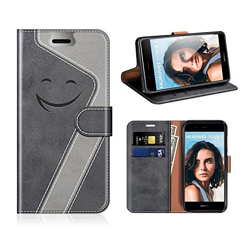MOBESV Smiley Huawei Nova 2 Hülle Leder, Huawei Nova 2 Tasche Lederhülle/Wallet Case/Ledertasche Handyhülle/Schutzhülle für Huawei Nova 2, Schwarz/Grau