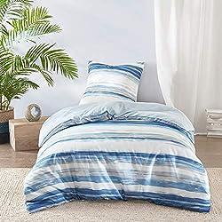 SCM Bettwäsche 135x200cm Blau Weiß in Aquarelloptik Mikrofaser 2-teilig Bettbezug & Kissenbezug 80x80cm Geometrisch Ideal für Schlafzimmer Marina