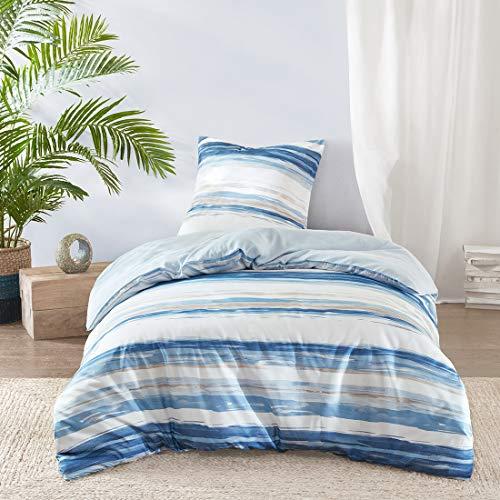 SCM Bettwäsche 135x200cm Blau Weiß in Aquarelloptik Mikrofaser 2-teilig Bettbezug & Kissenbezug 80x80cm Geometrisch Ideal für Schlafzimmer Marina -