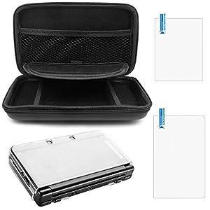 AFUNTA Schutzhülle für Nintendo NEU 3DS XL, mit Hard Cover und 2 Stück Displayschutzfolien, Hard Shell Reisetasche, Schutzfolien für Ober- und Unterteil