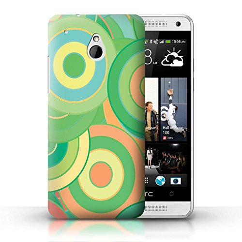 Stuff4® Custodia/Cover/Caso/Cassa Rigide/Prottetiva Stampata con Il Disegno Moda Verde per HTC One/1 Mini - Retro Cerchi/Turbinii
