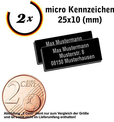 2x micro Drohnen Kennzeichen Aluminium elox. 25x10mm mit hochwertiger Lasergravur inkl....