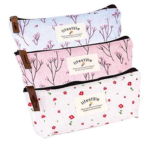3 pcs Vintage Blumen Floral Feder Tasche Kosmetik Make-up Tasche Hand Tasches
