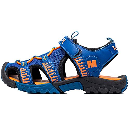 Myaikku Sommer Schuhe Geschlossene Sandalen Outdoor Kinderschuhe Klettverschluss Jungen Mädchen Blau