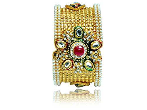 Mansiyaorange Traditional Fancy Designer Casual Party Wedding Wear Original One Gram Gold RED Green Hand Meena Work AD Polki Kundan Golden Openable Bangles Bracelet For Women(OPENABLE 2.6 INCH)  available at amazon for Rs.265