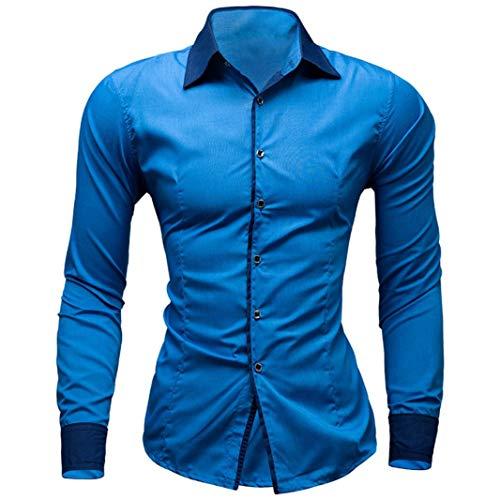 UJUNAOR Mode Männer Solide Shirt Business Slim Fit Bluse(M,Himmelblau)