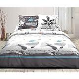 plume housse de couette 240x260cm et 2 taies d 39 oreiller blanc alinea cuisine maison. Black Bedroom Furniture Sets. Home Design Ideas