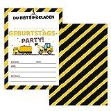 Made by Nami 12er Set Einladungskarten Baustelle für Kindergeburtstag - Einladungen für Geburtstag, Kinder Jungen Geburtstagseinladungen Din A6 Kartenset (Ohne Umschläge)