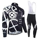 BXIO Maglie Ciclismo Invernale PRO Racing Abbigliamento Bici Autunno Uniforme Ciclismo Manica Lunga Man Sport Jersey 080 (Winter(080,Bib Tights), L)