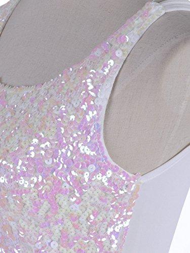 Anna-Kaci femmes brilliant charmant paillettes embelli soirée veste Weiß