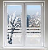 INDIGOS UG Sonnenschutz Kranich Sichtschutzfolie Glasdekorfolie Zugvögel Fensterbild Schilf satiniert blickdicht - 1000mm Breite x 500mm Höhe - auch mit Individueller Breite