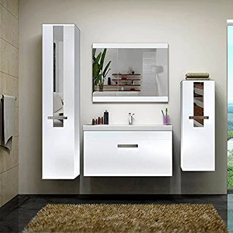 Home Deluxe | Badmöbel-Set | Juist | Weiß | inkl. Waschbecken und komplettem Zubehör