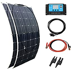 XINPUGUANG Kit solaire 200w Watt 2pcs 100W 18v Panneau solaire flexible + Contrôleur 20A 12v / 24v pour voiture, remorque, camping-car, camping, bateau, charge de la batterie 12v (200W)