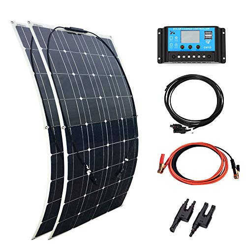 YUANFENGPOWER 200 watt 12 v Off Grid Solar Kit 2 stücke 100 Watt Flexibles Solarpanel Solarmodul 20A USB Controller für Wohnmobil Auto RV Hause Dach 12 v Ladegerät Solar-auto Kits