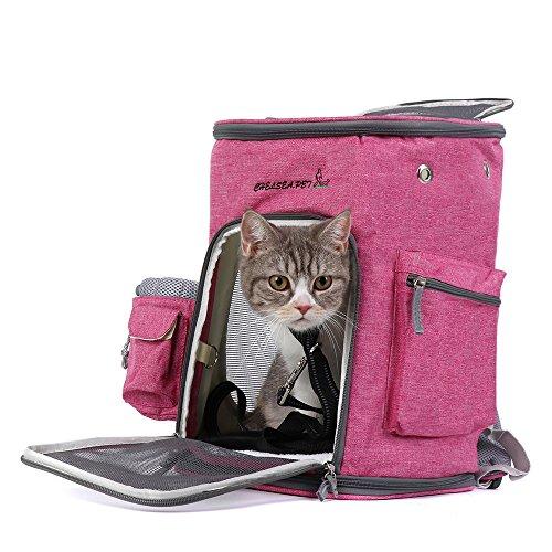 Joytutus trasportino da viaggio per gatti e cani, pieghevole borsa zaino per cani animali domestici per viaggio in treno trasportino - fino a 7.5 kg