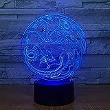 SHNDYW Nachtlichter Drachen Totem Runde 3d Licht 7 Farbe LED Nachtlicht LE Kinder Schlafzimmer Raumdekoration Licht