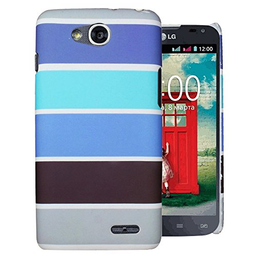 Heartly Strip Style Retro Color Armor Hybrid Hard Bumper Back Case Cover For LG L90 Dual Sim D410 - Navy Blue
