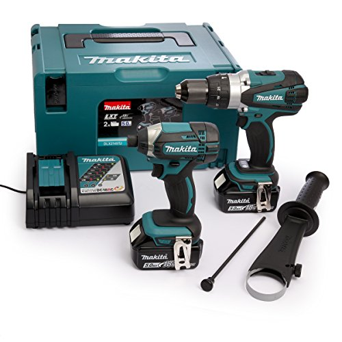 Makita DLX2145TJ Makpac Perceuse visseuse à percussion DHP458Z + visseuse à chocs DTD152Z + 2 batteries 18V 5Ah Li-ion + coffret