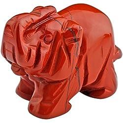 mookaitedecor Figura decorativa de elefante con cristales curativos y piedra de energía reiki, decoración del hogar, 3,8 cm, piedra, Stripes Red Jasper