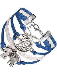 Flongo Pulseras Bohemias Boho Chic para mujer, Azul cielo brazalete de hilos trenzados retro vintage, Pulsera de Elefante símpatico, Buen regalo de la amistad