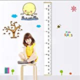 "Fixget Baby Height Growth Chart, Roll Up Canvas Hanging Ruler Measurement Removable Wall Decor Fabric Chart With Wood Frame For Kids Bedroom Nursery, 79""x7.9"""