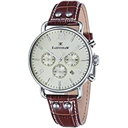 Thomas Earnshaw Chronograph Men's Quartz Watch with Yellow Dial Analogue Display and Brown Leather Strap ES-8001-05