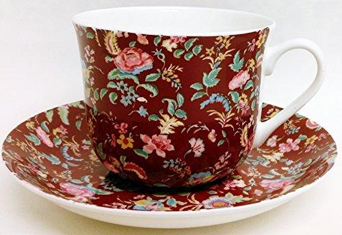 Petite Bombay Kaffeetasse und Untertasse Petite Bombay Burgund feines Bone China Tasse, groß & Untertasse Hand-dekoriert in Großbritannien (Bone Petite China)