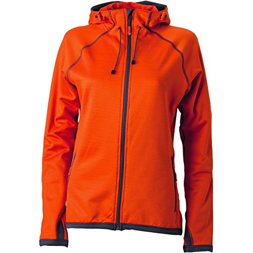 James & Nicholson–Fleece Kontrastfarbe Jacke mit Kapuze–Reißverschluss–JN570–Damen Gr. Medium, orange foncé et gris carbone (Orange Kapuzen-fleece)