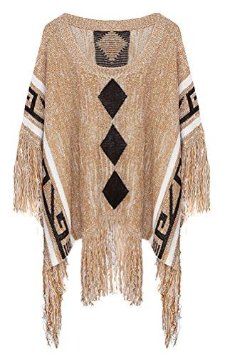 SMITHROAD Damen Flügel Cape Poncho Pulli Pullover Sweatshirt mit Fransen Khaki Gr.36-48