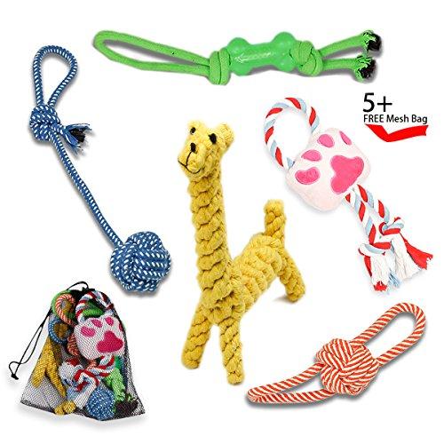 Kauspielzeug für Hunde, Puppy Zahnen Spielzeug für kleine und mittlere Hunde, Haustier-Trainingsspielzeug - Tauziehen Ball, Hundeknochen, Quietschen Spielzeug, Seil Tierspielzeug, Hund Ball - 5 Pack beste Pet Geschenk