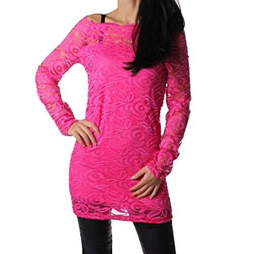 Netzkleid Spitzkleid Spitztunika aus feinster Qualität Spitzstoff unterlegt Trend 2016 (Pink)